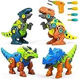UTTORA Take Apart Dinosaur Toys, 4 Pack DIY Dinosaur Toys Set with Electric Drill, Assemble Dinosaur Construction Build Set T