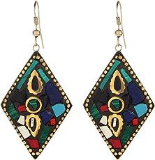 Cardinal Handmade Tibetan Style Terracotta Latest Design Stylish Hook Earring For Women/Girls