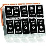 5 cartucce per stampanti con chip compatibile con Canon PGI-550 PGBK Nero per Pixma IP-7250 IP-8750 IX-6850 MG-5450 MG-5550 M