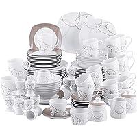 VEWEET, série Nikita, Service de Table, 100 pièces pour 12 Personnes, en Porcelaine