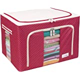 BlushBees® Living Box - Wardrobe Organizer, Cloth Storage Bags with Zip - 66 Litre, Pack of 1, Polka Dots Red