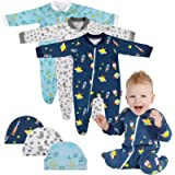 Lictin Baby Romper Pajamas - 3 Pack Cotton Long Sleeve Zipper Romper with 3 Hats, Baby Boys Sleepsuits Sleepwear for 0-3…