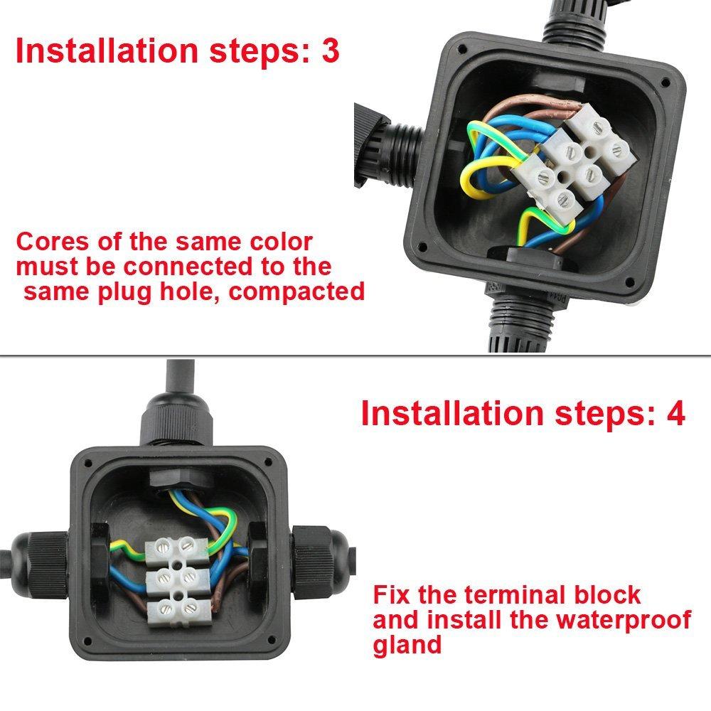 KINYOOO 4Pcs IP66 caja de conexiones el/éctricas a prueba de agua 3 v/ías caja de conexiones el/éctricas externas acoplador exterior PG11 gl/ándula de cable 5-10 mm.