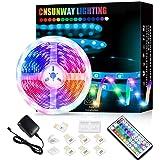 Ruban LED 5M, CNSUNWAY LIGHTING Bande RGB 5050 LED Lumineuse Multicolore avec Télécommande à 44 Touches pour Fête Décor pour
