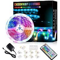 Ruban LED 5M, CNSUNWAY LIGHTING Bande RGB 5050 LED Lumineuse Multicolore avec Télécommande à 44 Touches pour Fête Décor…