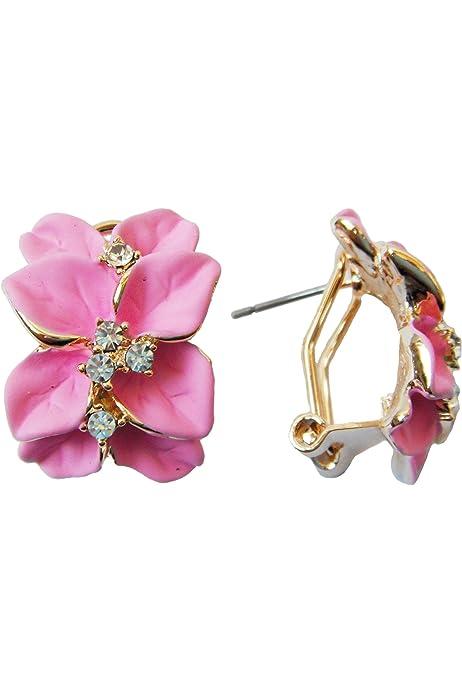 Pendientes de cristal de color rosa flor de verano de Esmalte Reino Unido
