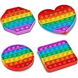 HALAMODO4 Pack Rainbow Pop it Fidget Toy, Push Pop Bubble Fidget Sensory Toy for Kids and Adults, Fidget Popper Stress Reliev