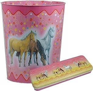Kinderzimmer-Set Pferde bestehend aus Papierkorb