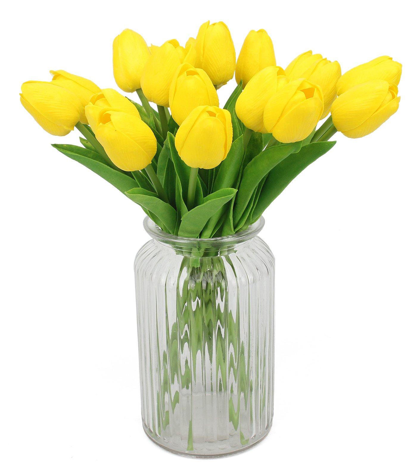 Xiuer – Ramo de flores artificiales de 20 cabezas de tulipanes artificiales de tacto real para decoración del hogar o la habitación.