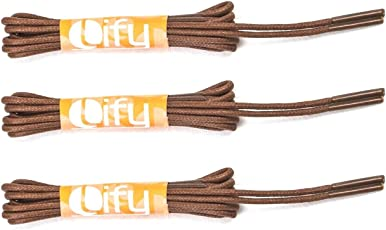Lify Waxed Cotton Extra Thin Dress Round Shoelaces for Formal Shoes - Pair of 3