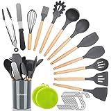 NEXGADGET Ensemble d'Ustensiles de Cuisine de 30 Pièces, Set de Cuisine en Silicone avec Support, Pinces, Grattoir, Fouet, Lo