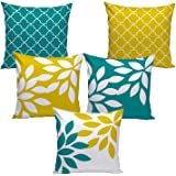 """AEROHAVEN™ Set of 5 Multi Colored Decorative Throw Hand Made Velvet Cushion Covers (16"""" x 16"""" OR 40cm x 40cm)"""