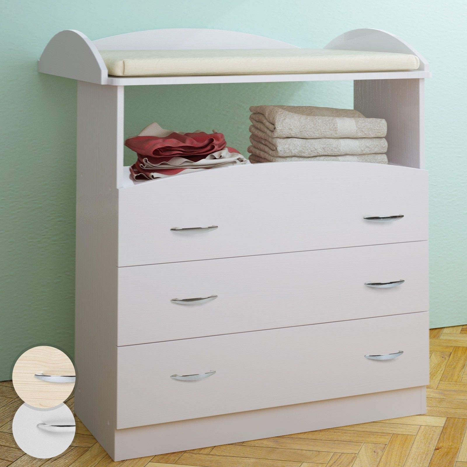 Baby changing table unit 3 drawers chest storage nursery furniture 85 x 71 x 96 cm