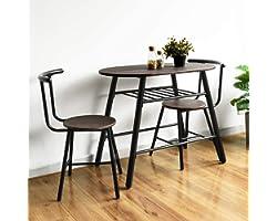 HOMYCASA Table à Manger avec 2 Chaises, 2 Personnes Table de Salle à Manger avec étagère de Rangement, Table à Manger de Cuis