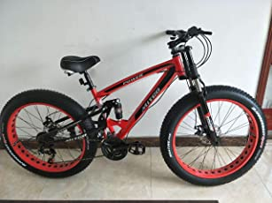 Amardeep Cycles Dual Suspension Downhill Fat Mountain Bike 21gears Red 26x4 Inches