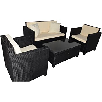 Amazon.de: Gartenmoebel Cannes Rattan Lounge Möbel black Polyrattan ...