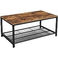 VASAGLE Table Basse, Table de Salon, avec Étagère en Maille, Large Espace de Rangement, Montage facile, Stable, Style Industriel, Marron Rustique LCT64X