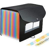 Expanding File Organisers 26 Pocket,Filing Boxes Document Organiser A4 Size,Expandable File Folder with A-Z Alphabet Labels,Accordion Desk Folders Expander,Portable Plastic Files Documents Storage Box
