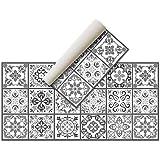 Alfombra Vinílica Hidráulica (120 x 60 cm, Negro-Gris) - Distintos Colores y tamaños - Alfombra Cocina, baño, salón Comedor -