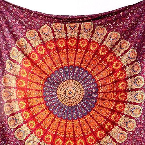 Ularma Mandala Bunt Wandteppiche Chiffon Gobelin 148cmX210cm Wandbehang (Rosa)