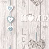 BHF FD41719 Love Your Home Wallpaper - Blue/White (1-Piece)