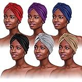 6 Pezzi Turbante Chemioterapia,Turbante Donna,Foulard per Capelli,Bandane per Capelli,Fascia Capelli Donna Estive Cotone,Foul