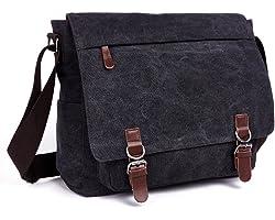 LOSMILE Umhängetasche Herren Schultertasche 16 Zoll Kuriertasche Canvas Laptop Tasche Messenger Bag für Arbeit und Schule. (S