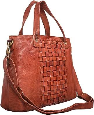 STILORD 'Mara' Borsa da donna in pelle vintage Grande borsa a tracolla con manici e con elegante intreccio in vero cuoio