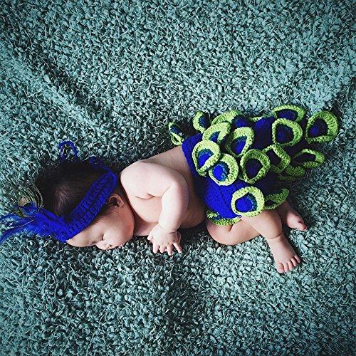 y Kleidung Crochet Knit Kostüm Foto Fotografie Prop Set blau grün Pfau ()