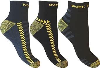 3 Pairs of Mens Ultimate Work Trainer Socks with Re-inforced Heel and Toe, UK 6-11 Eur 39-45, Black