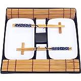 Exzact EX-SG Ensemble de Sushi 10 pièces - 2 x Plaques de Sushi, 2 x Bols de plongée, 2 x Tapis de Bambou à Base de Sushi, 2