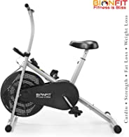 BIONFIT Indoor Stationary Air Bike Exercise Cycle for Home Cardio Weight Loss Gym Workout