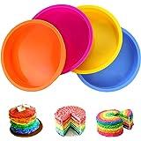 Aitsite 4Pcs Moule Gâteau Rond en Silicone 6 Pouces, Moule Rainbow Cake, Parfait pour Faire de délicieux gâteaux en Couches p