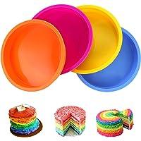 Aitsite 4Pcs Moule Gâteau Rond en Silicone 6 Pouces, Moule Rainbow Cake, Parfait pour Faire de délicieux gâteaux en…