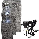 GARTENBRUNNEN BRUNNEN GRANITWAND-KASKADE mit LED-Licht 230V ZIERBRUNNEN VOGELBAD WASSERFALL GARTENLEUCHTE TEICHPUMPE…