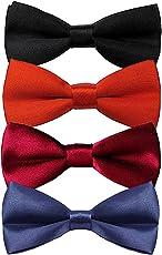 Sorella'z Boys Satin Black, Navy Blue, Red & Maroon Bowtie Combo