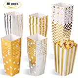 MVPower Popcorn Boxen 100/50 Pcs Party Candy Tüten Container Behälter Karton Gold Silber (Ein Größe Set/3er Größe Set)