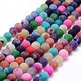 Cuentas redondas de piedras preciosas de 6 mm, ágata, colores mate variados, piedras naturales con orificio para enhebrar y c