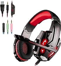 Gaming Headset für PS4, Over Ear Kopfhörer PC mit Mikrofon Surround Sound und Leds Noise Cancelling für Xbox One/PC/Iphone/Laptop/Mac/Handy (mit Adapter)