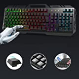 Tastiera, TedGem Tastiera Gaming, PC Tastiera, LED Tastiera Retroilluminata, USB Gaming Keyboard Pannello Metallico - Anti gh