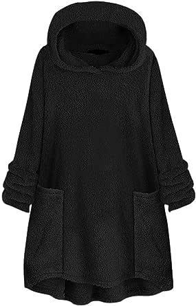 Lulupi Oversized Teddy - Felpa da donna con cappuccio, in pile, per autunno, tinta unita, con cappuccio