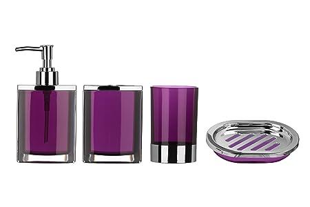 Beau Premier Housewares Bathroom Set, 4 Pieces   Purple: Amazon.co.uk: Kitchen U0026  Home