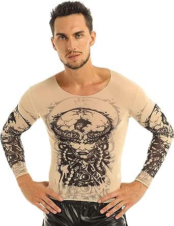 inlzdz Mens Arts Fake Tattoo Shirt Long Sleeve Top T-Shirt Halloween Festival Fancy Dress Clubwear