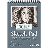 Bloc de dessin 100 feuilles A4 à reliure spirale 22,9 x 30,5 cm - Papier blanc et lisse à grain fin pour le dessin, croquis,