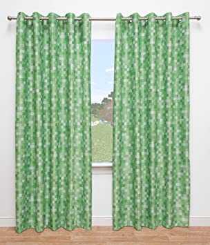 Green Curtains amazon green curtains : Pixel Ready-Made Light-Reducing Curtains (Green, 117 x 137cm (46 ...