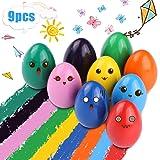 RenFox Crayons pour Enfants, 9 Crayons de Bébé Lavables Couleurs Crayons Non Toxiques pour Bébé Caryons pour Tout-Petits Jouets (Crayons de Couleur œuf)