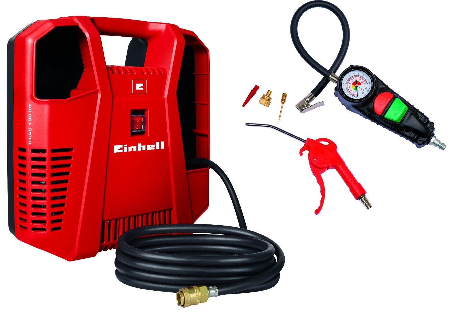 Einhell Kompressor TC-AC 190/8 Kit (1100 W, Ansaugleistung 190 L/min, 8 bar, 97 dB, ölfrei, inkl. Ausblaspistole & Reifenfüllmesser & Adapterset mit Reifenadapter, Ballnadel, Adapter für Luftmatratze)