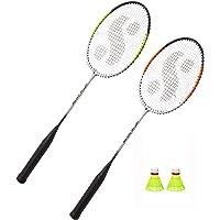 V4L 2 Racket Badminton Set with Cover Free 2 Pcs Plastic Shuttle Multicolour