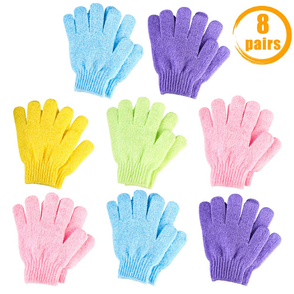 Quacoww 8 Pairs Exfoliating Gloves Five fingers Bath towel Strong Double-Sided Exfoliation