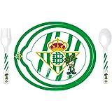 Real Betis 89234 Set Plato Microondas con Cuchara y Tenedor, Multicolor, Plastic